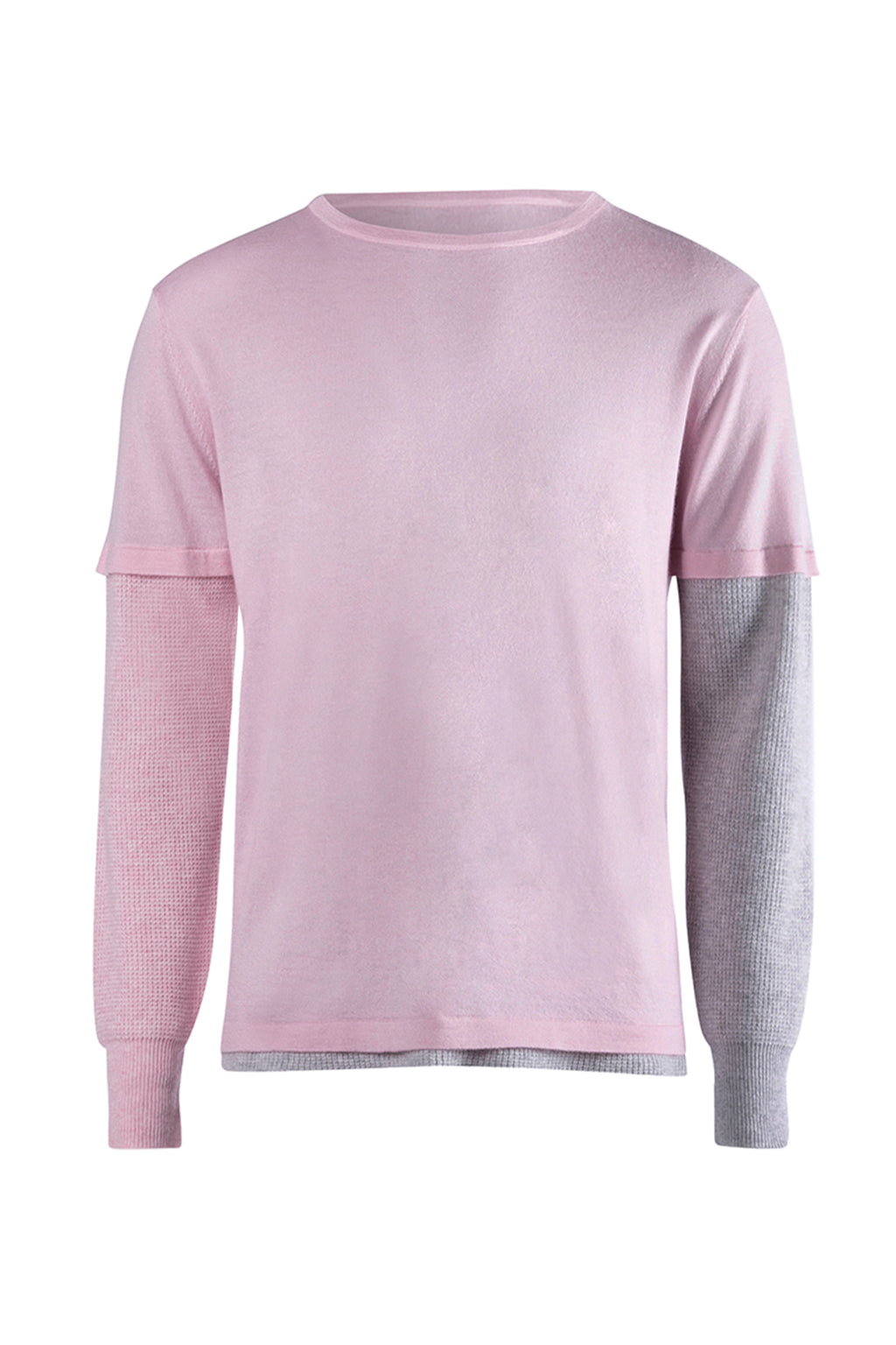 ISM Cashmere Waffle Long Sleeve Light Pink/Grey