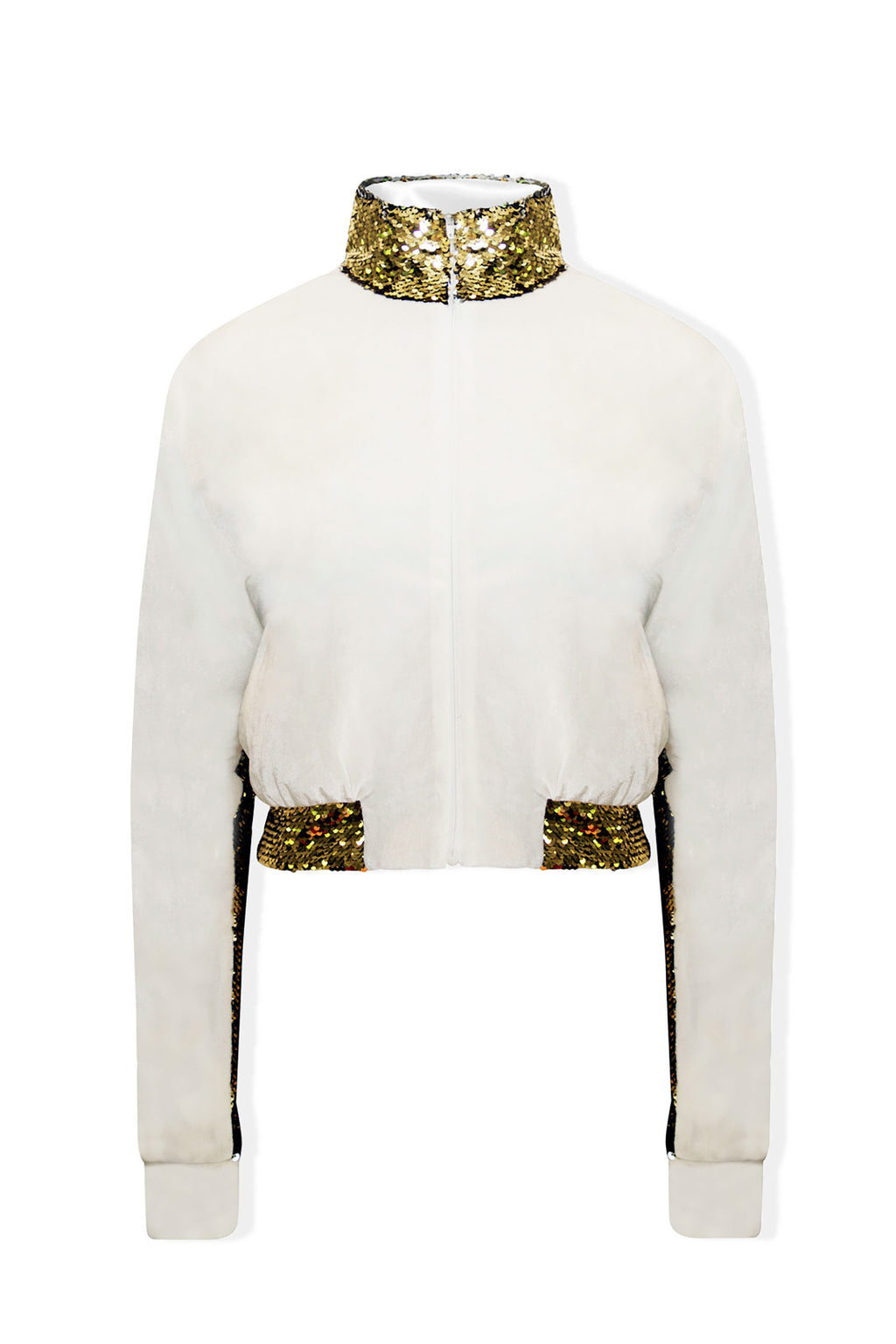 Ilona Rich White Velvet Gold Sequin Detail Crop Jacket