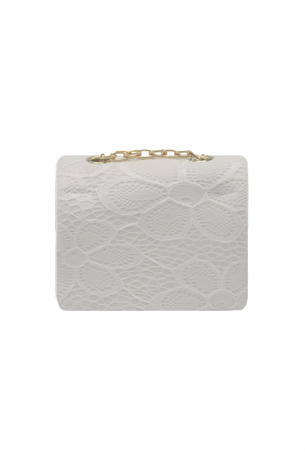 White Lace Floral Clutch