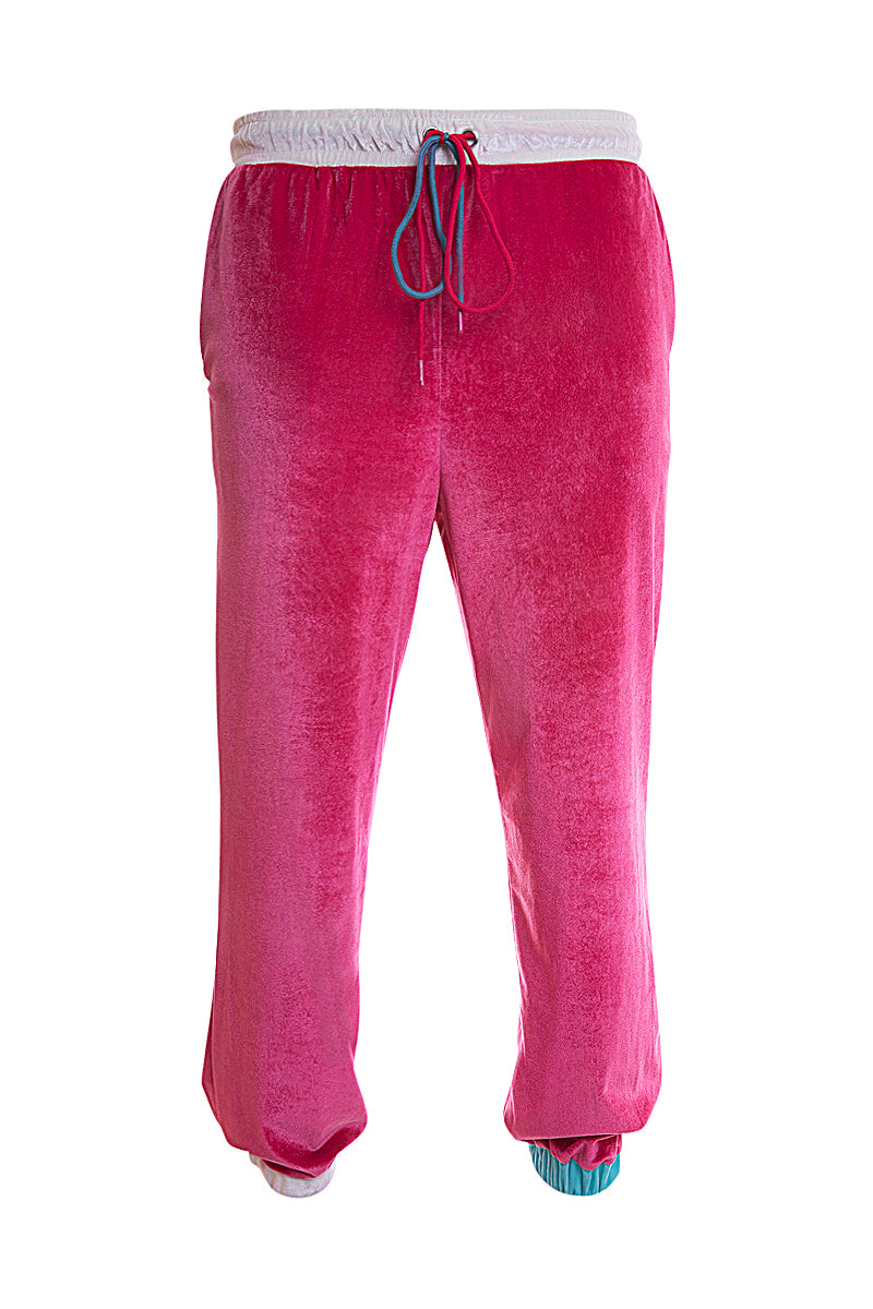 Adrian Unisex Raspberry Pink Velour Tracksuit Trousers