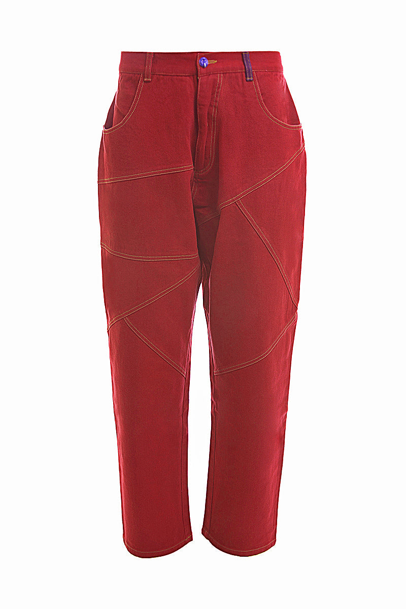 Adrian Unisex Red Denim Jeans