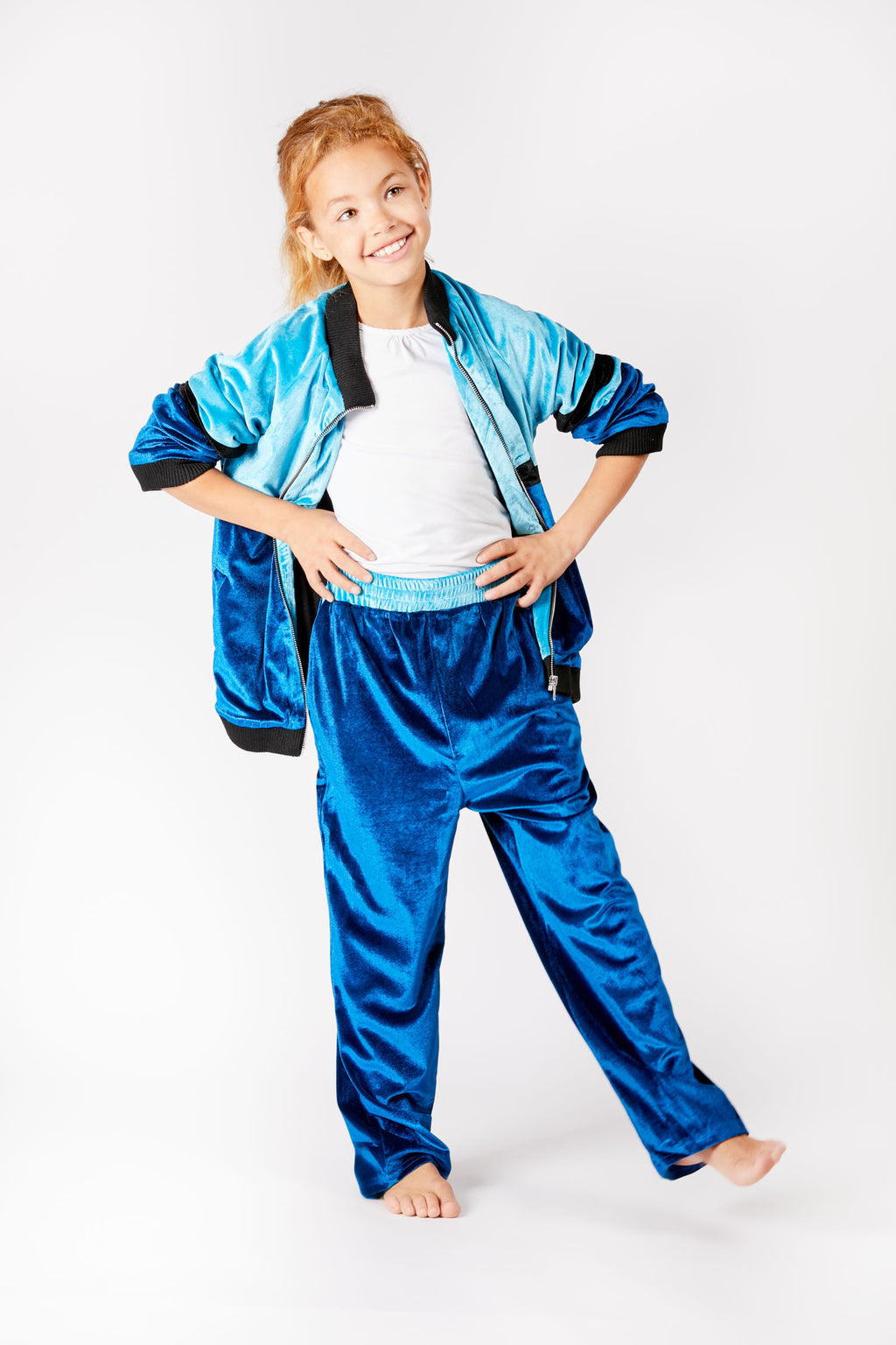 Kids Blue Velour Track Pants