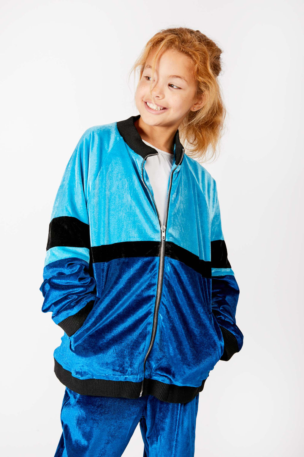 Kids Blue Velour Track Jacket