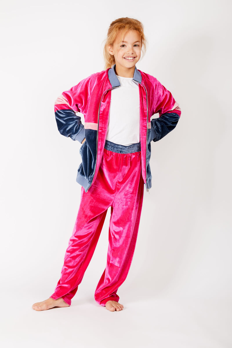 Kids Pink Velour Track Pants