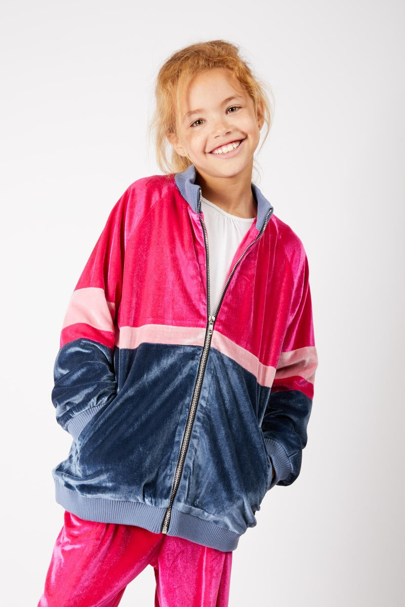 Kids Pink Velour Track Jacket