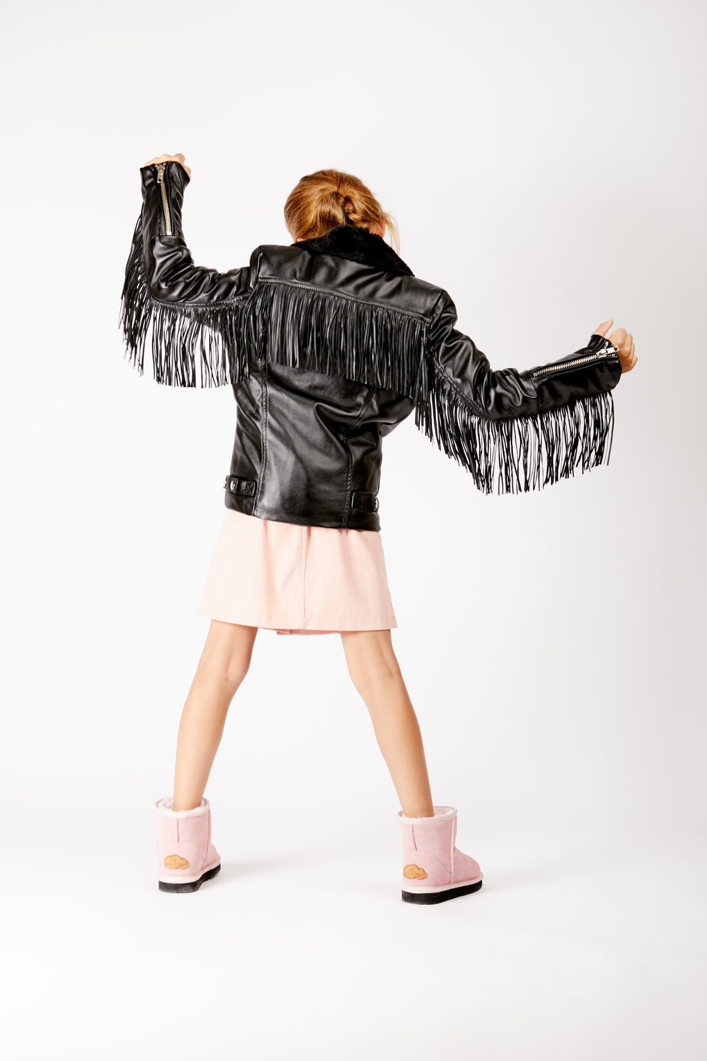 Kids Black Faux Leather Fringed Jacket