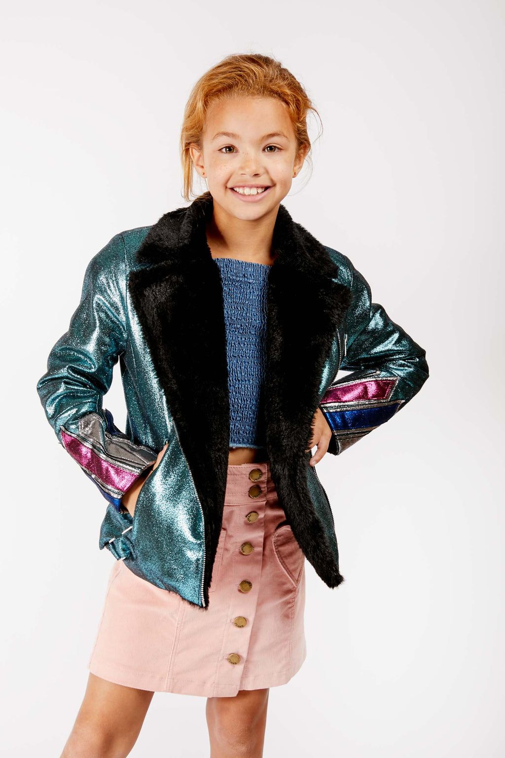 Kids Teal Faux Leather and Fur Jacket