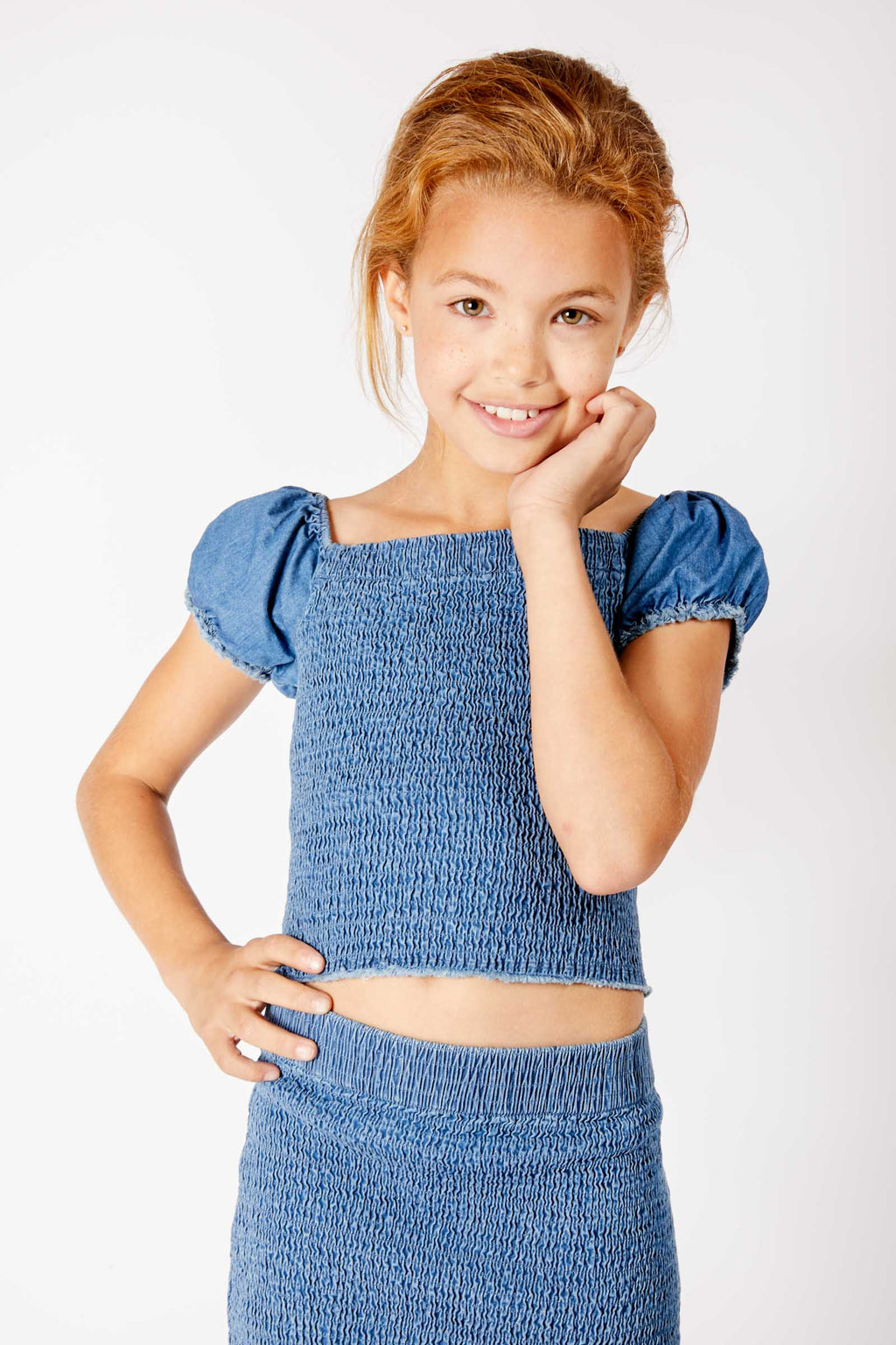 Madkat Kids Ruched Denim Top