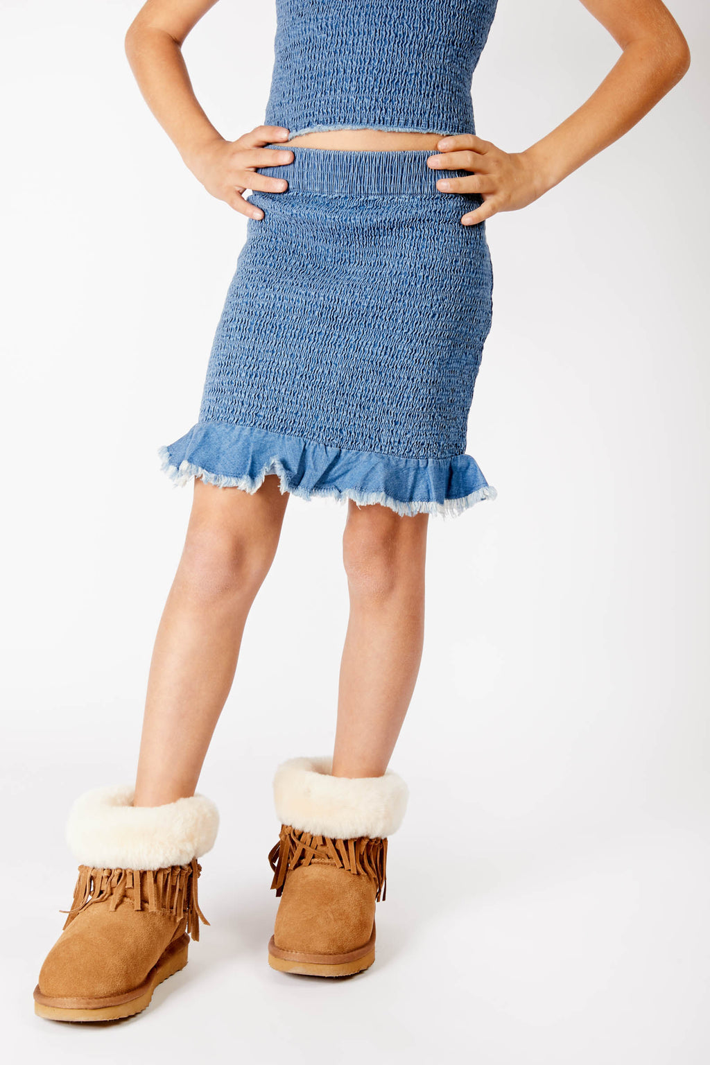Madkat Kids Ruched Denim Skirt