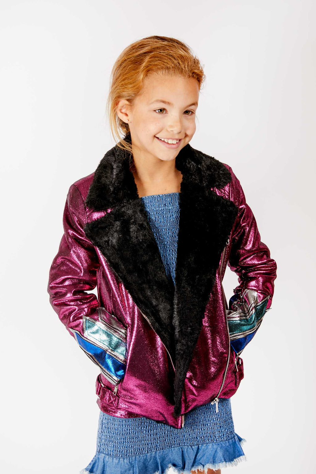 Kids Pink Faux Leather and Fur Jacket