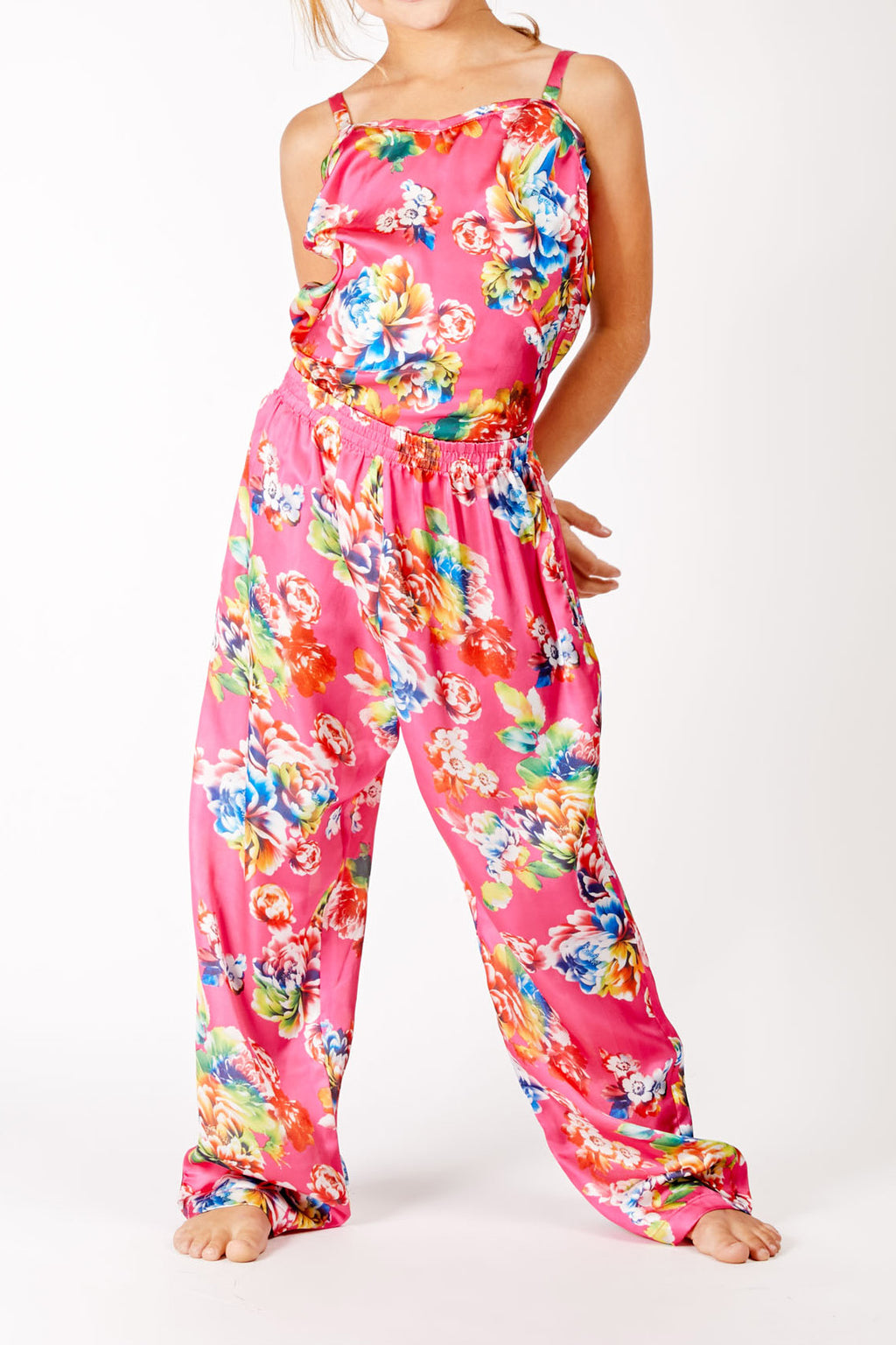 Hot Pink Floral Satin Trouser