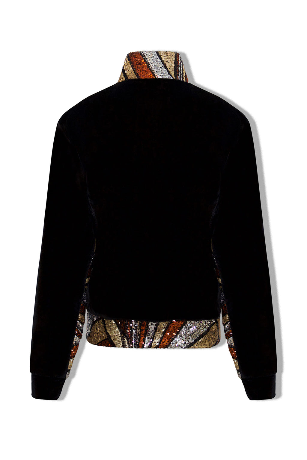 Ilona Rich Bronze Velvet Sequin Detail Long Jacket