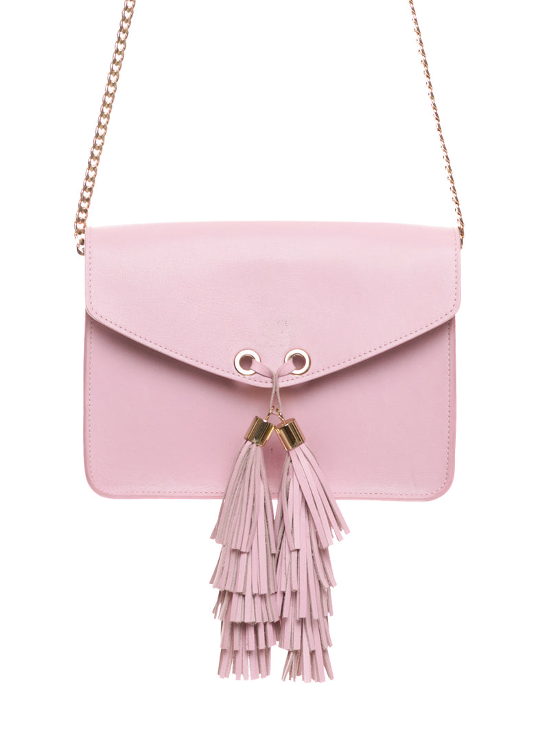 Pink Leather Shoulder Bag with Detachable Panda Purse