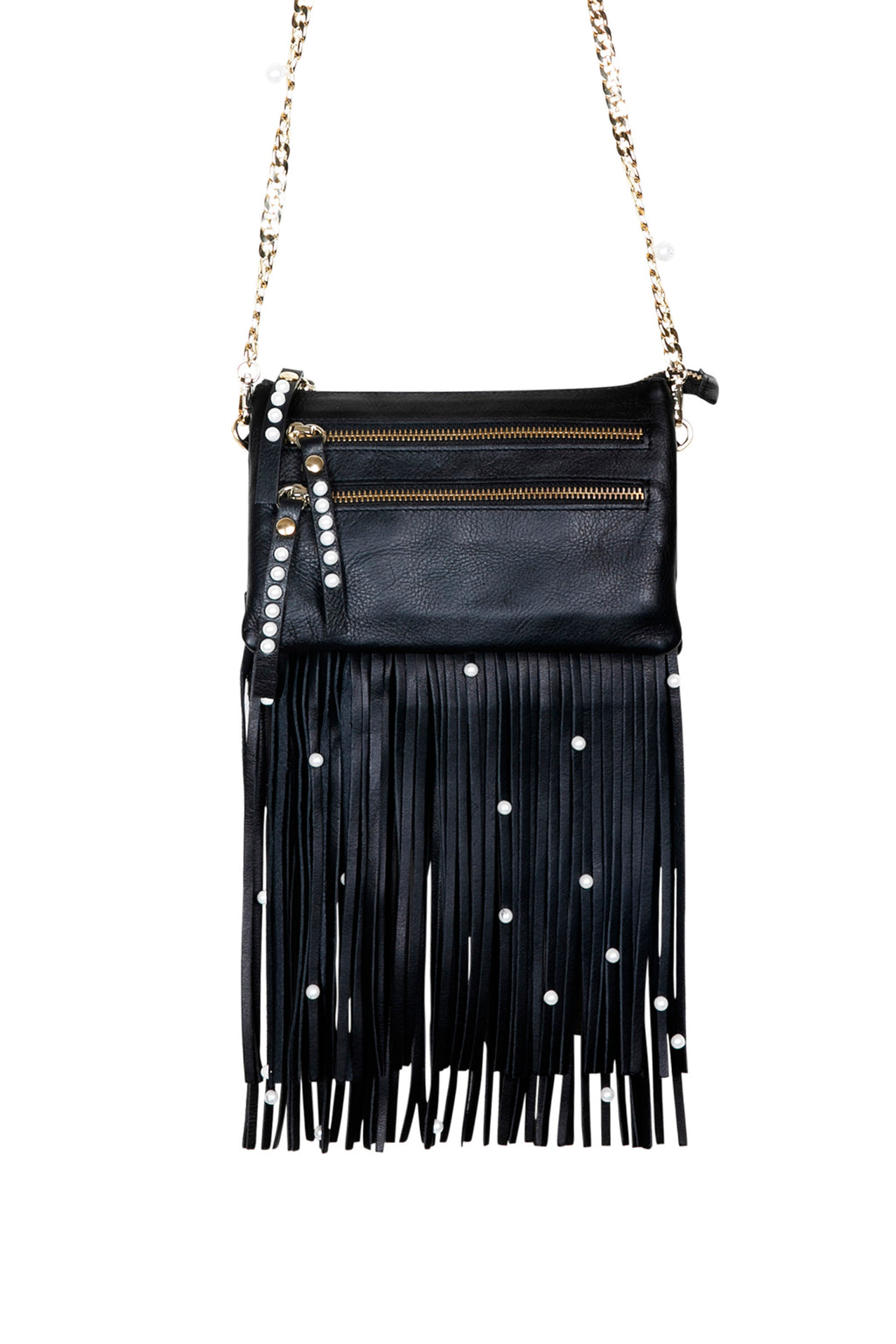 Black Leather Bag with Detachable Tassels