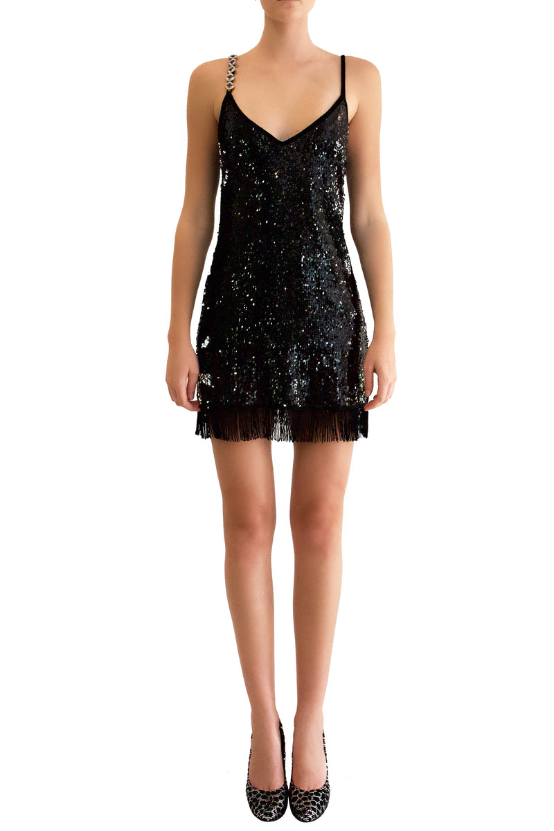 Ilona Rich Black Sequin Flapper Fringed Dress