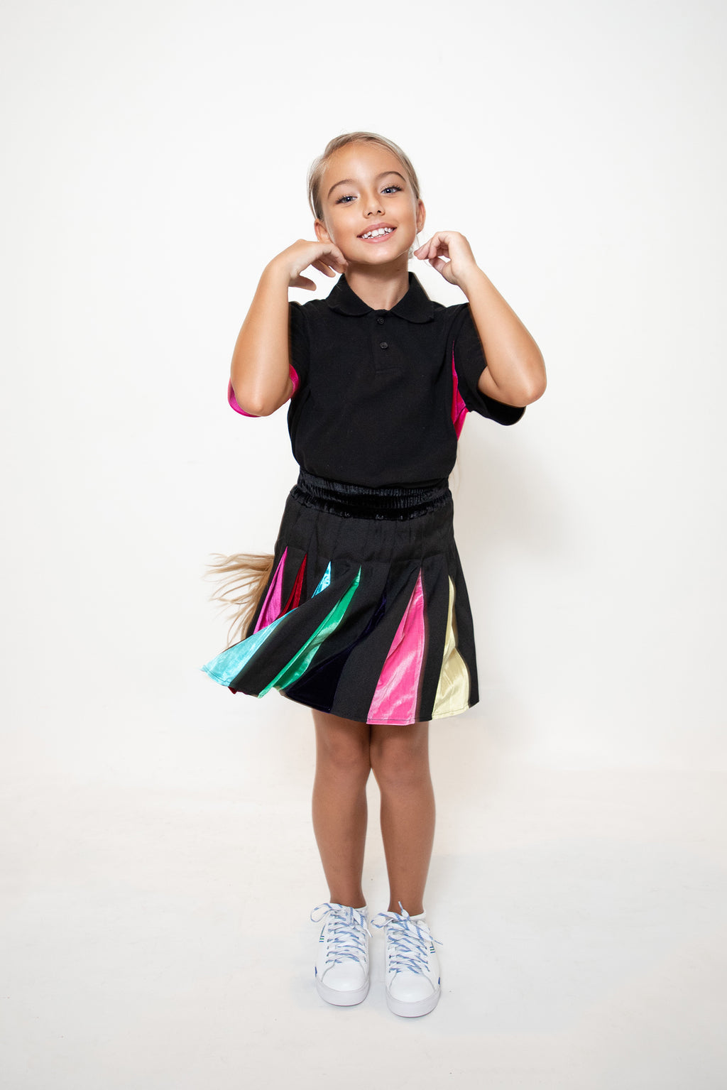 Kids Black Rainbow Pleat Tennis Skirt