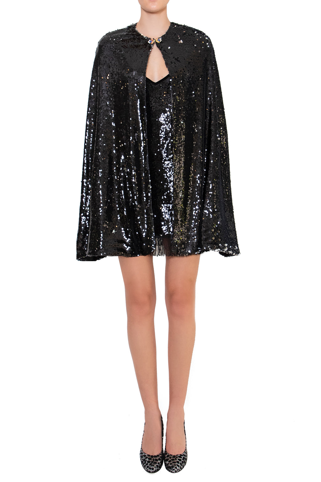 Ilona Rich Black Sequin Cape