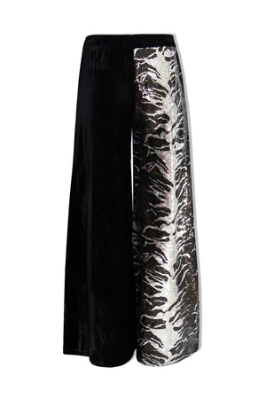 Black Half Sequin Wide Leg Trousers