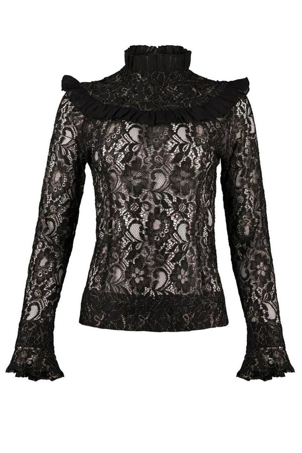 Black Victorian High Neck Blouse