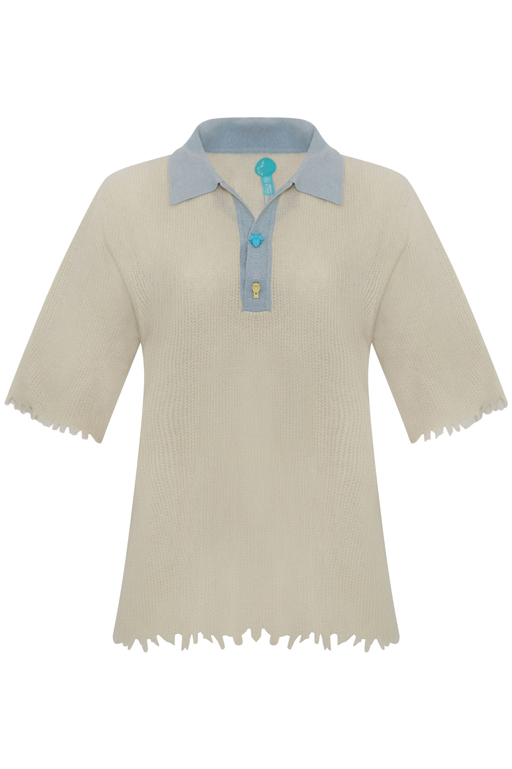 Adrian Waffle Cashmere Crying Face Polo Blue