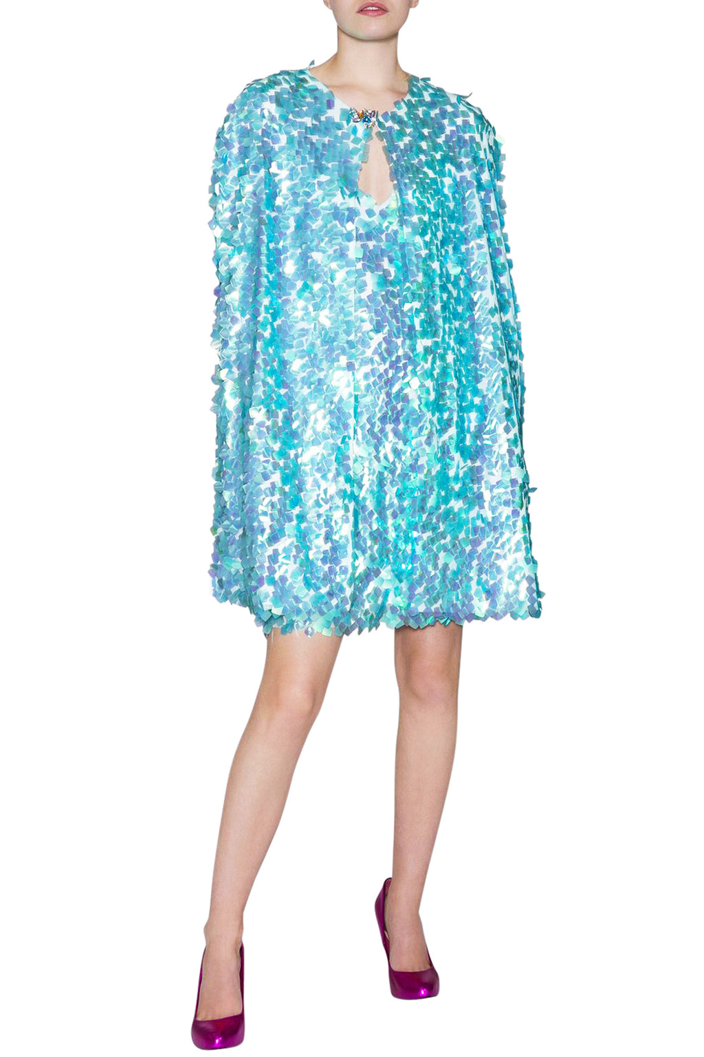 Ilona Rich Iridescent Sequin Cape to complete the look.