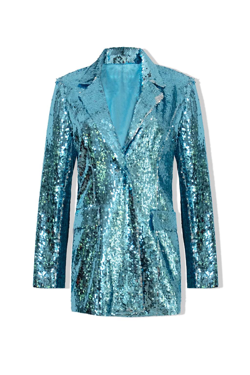 Ilona Rich Blue & Silver Sequin Single Breasted Blazer