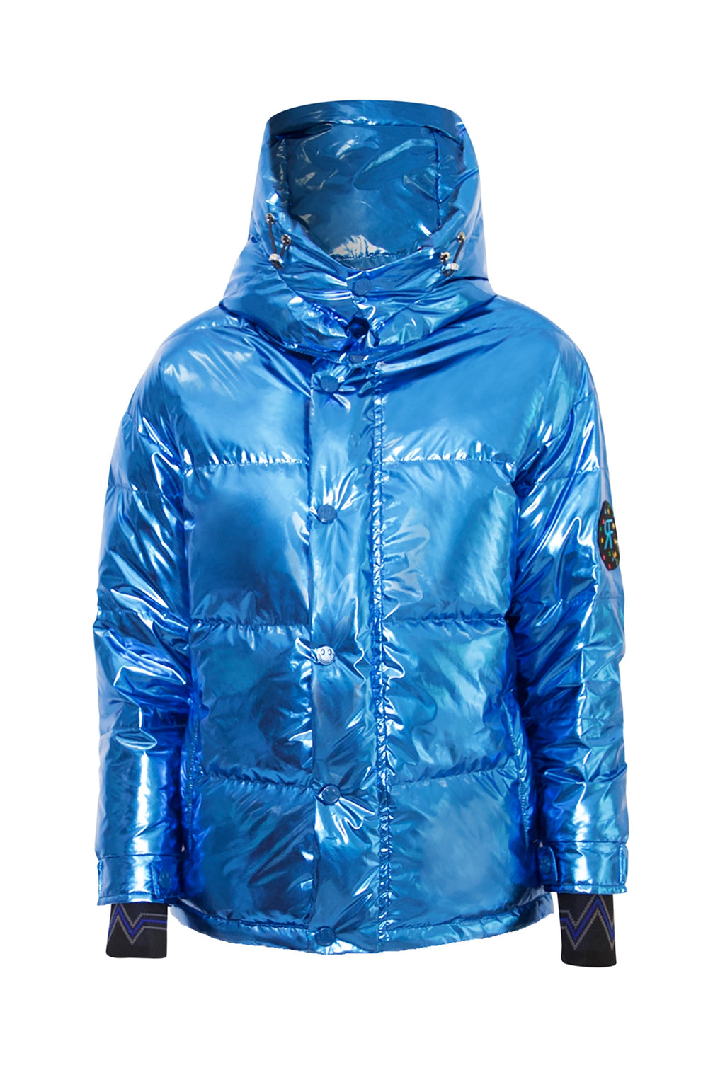 Metallic Blue Puffer Jacket