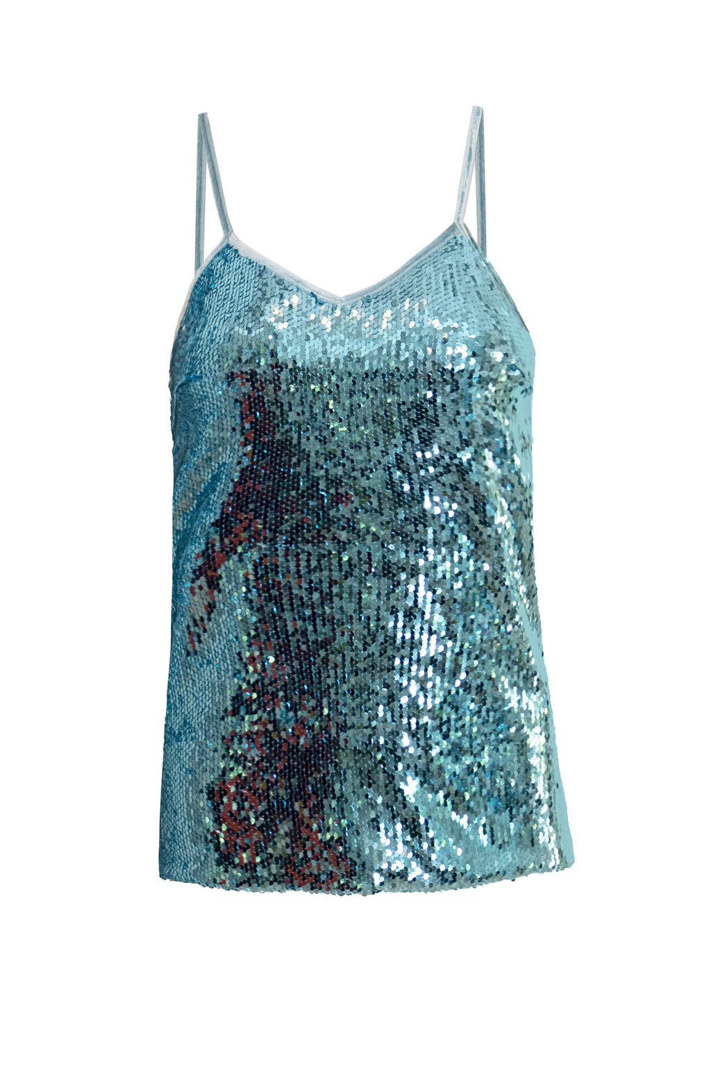 Ilona Rich Blue & Silver Sequin Cami Top