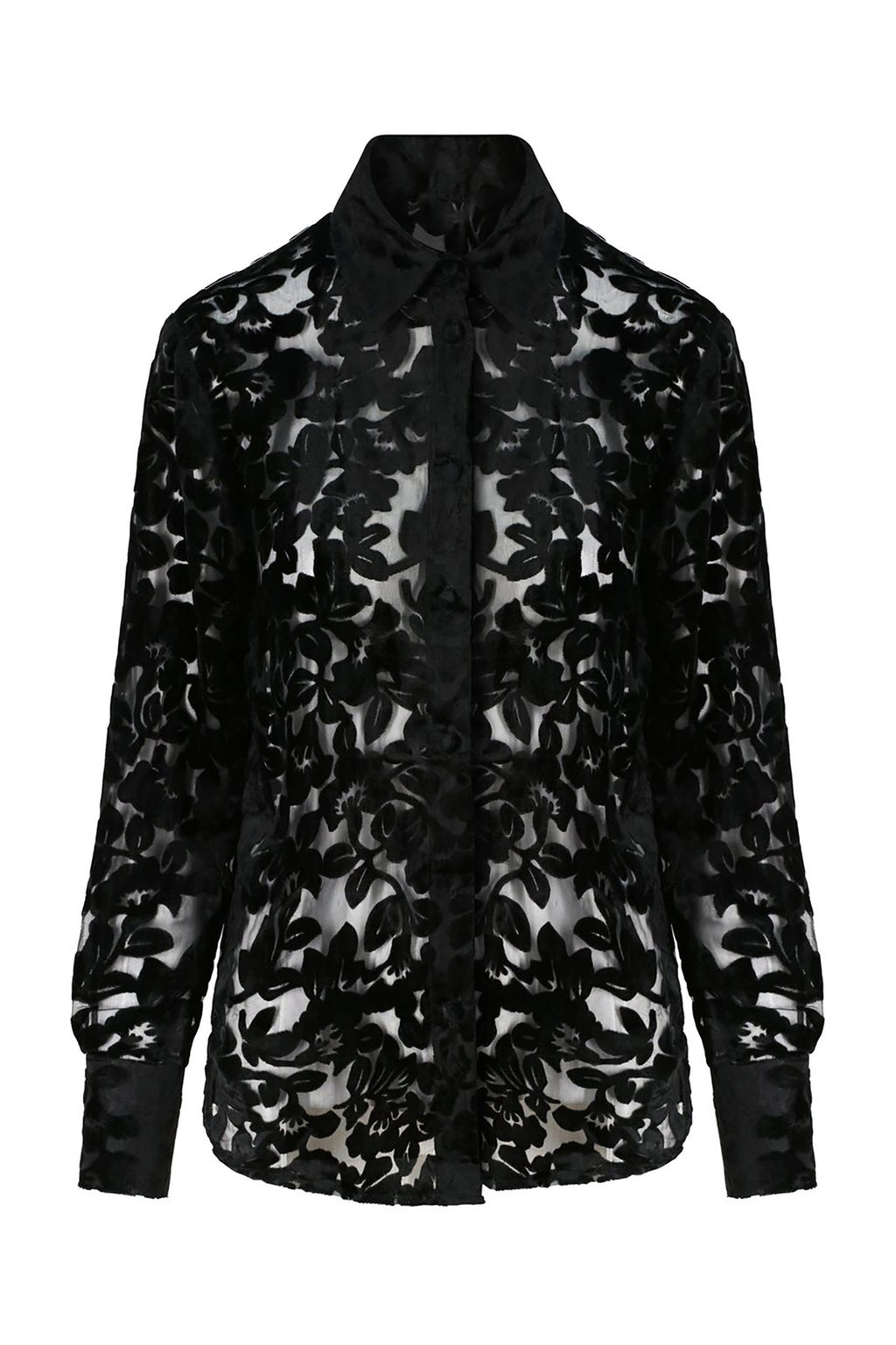 Ilona Rich Black Velvet Sheer Burn-out Shirt