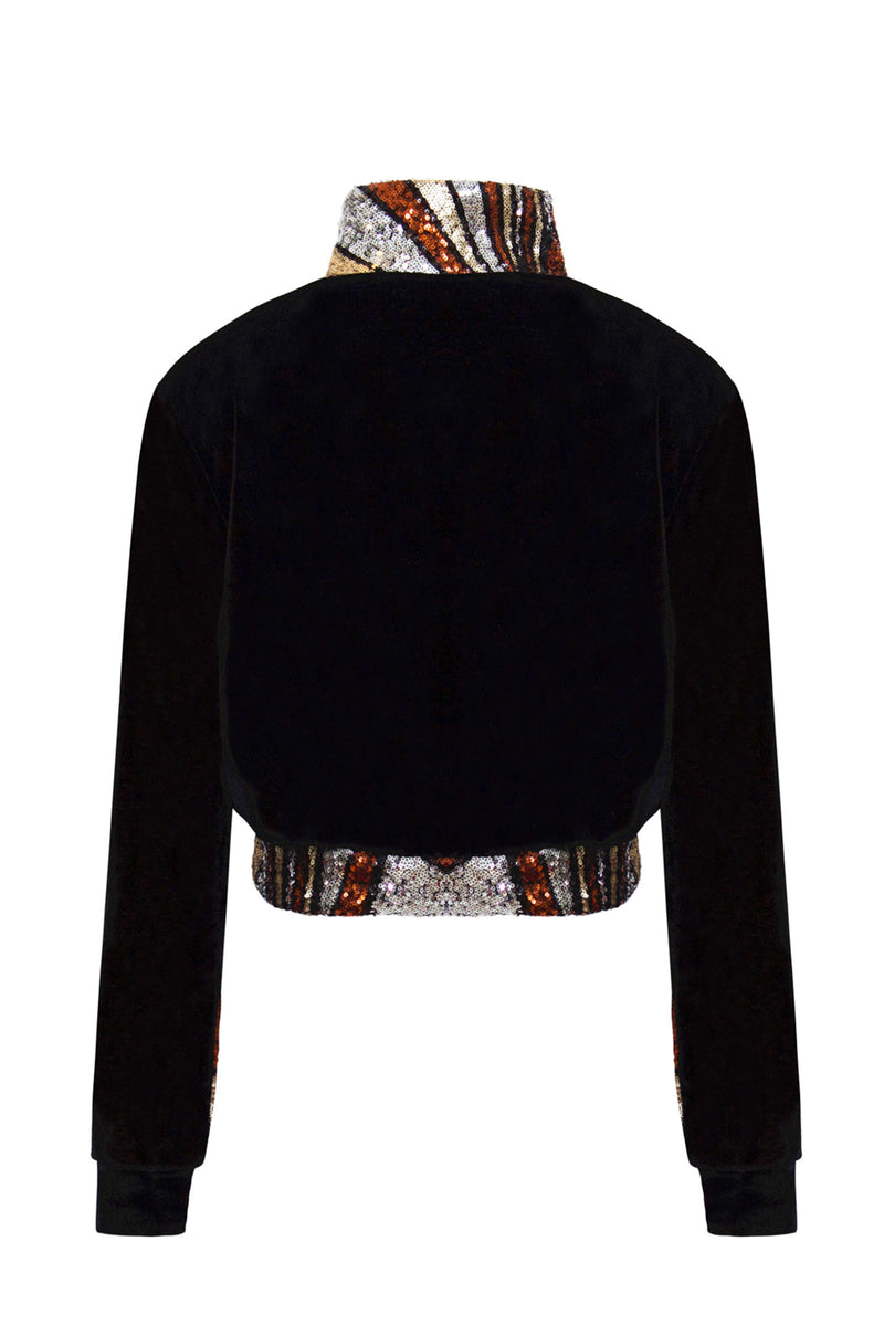 Ilona Rich Black Velvet Bronze Sequin Detail Crop Jacket