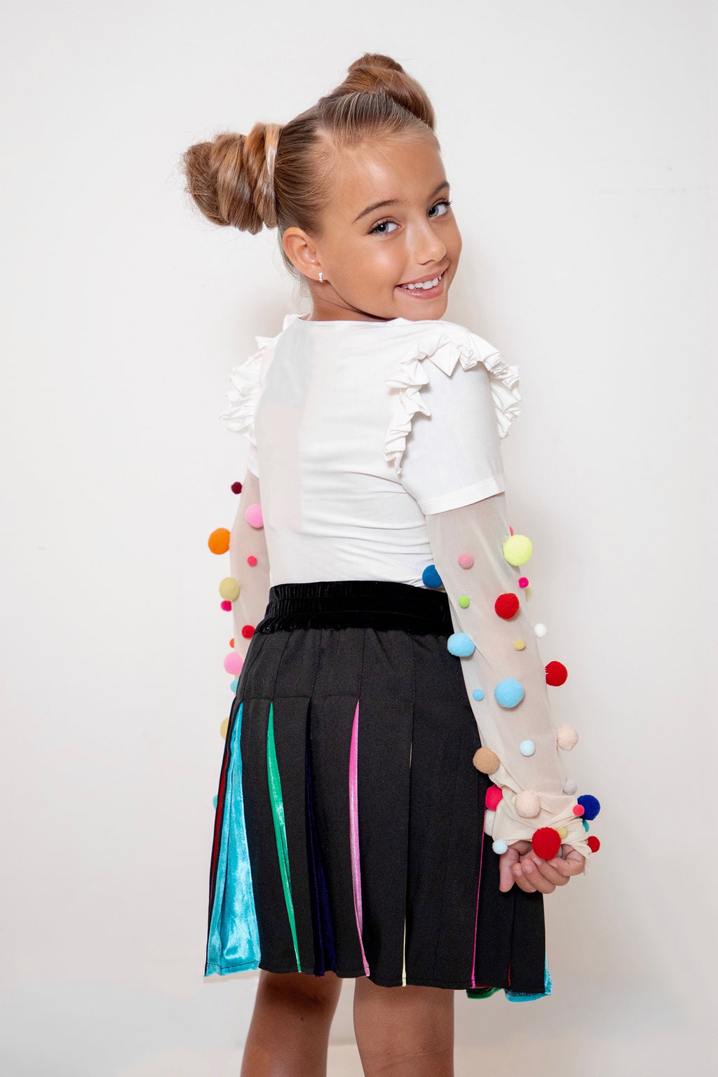 Kids White Pompom Longsleeve Top
