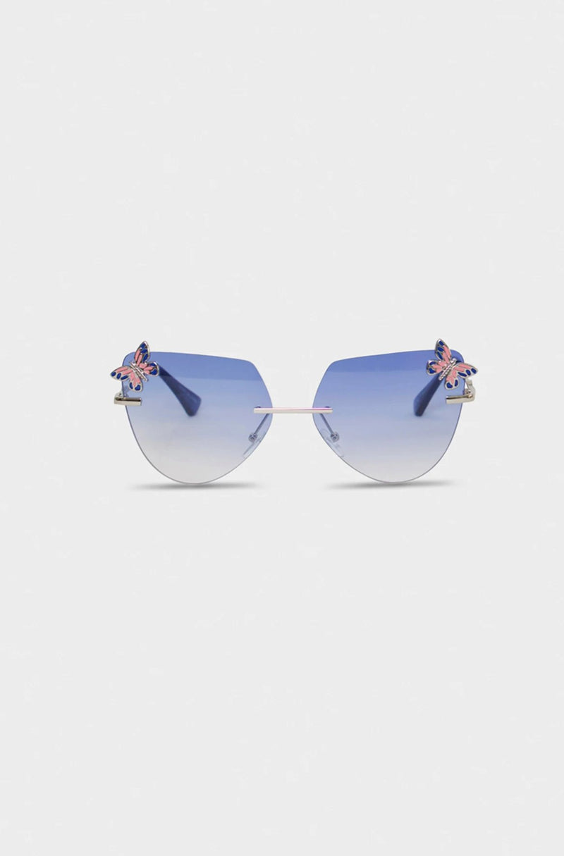 Blue Metallic Butterfly Glasses