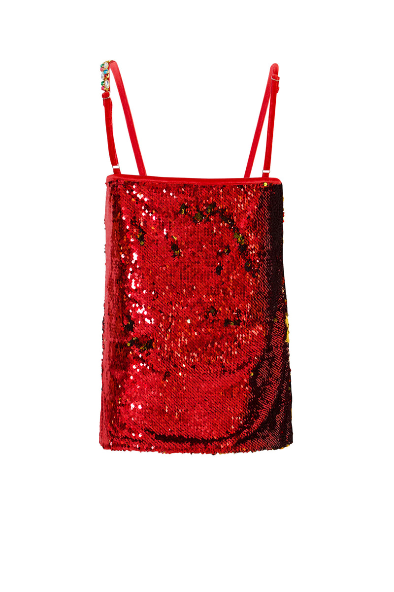 Ilona Rich Red Sequin Cami Top