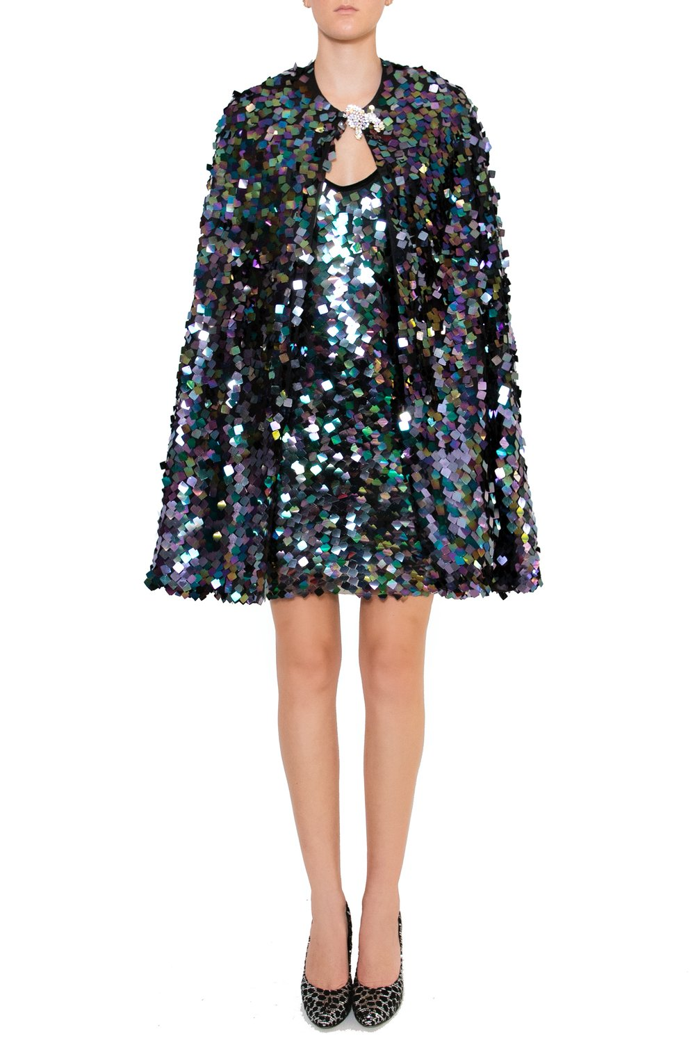 Ilona Rich Embellished Sequin Metallic Iridescent Cape & Dress (Bundle)