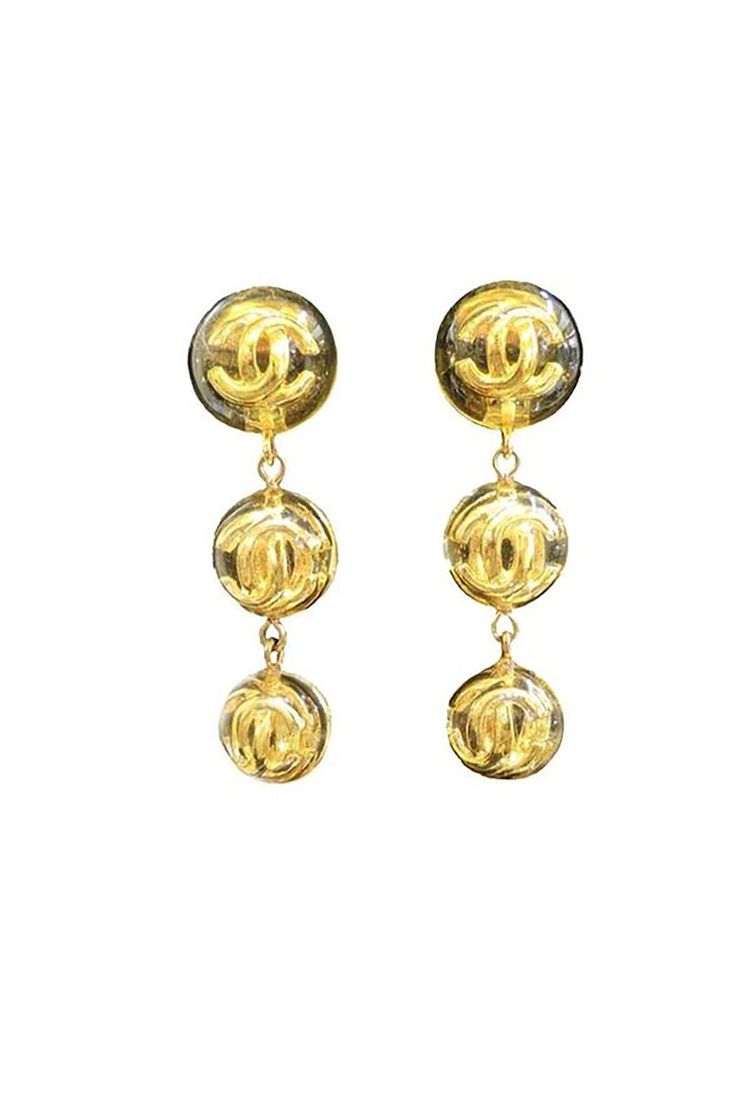 Famous Vintage Signed Chanel Season 25'CC' Logo Earrings