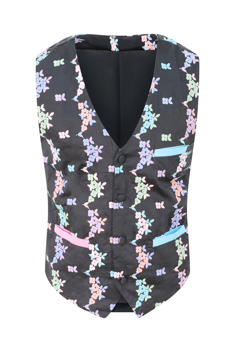 Adrian Schachter Floral Embroidered Suit Waistcoat