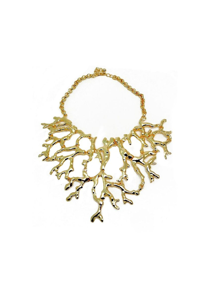 Signed Kenneth Jay Lane Abstract Branch Bib Necklace