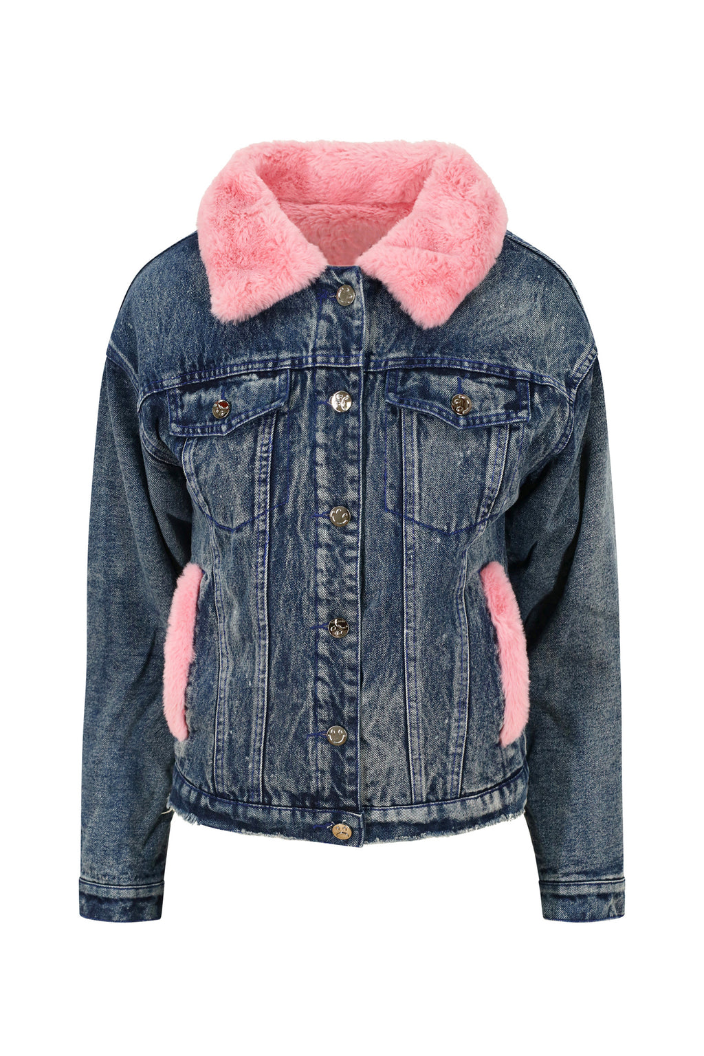 Pink Faux Fur Denim Jacket