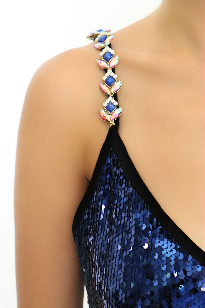 Ilona Rich Blue Sequin Flapper Fringed Dress