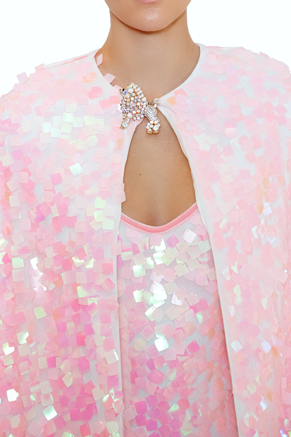 Ilona Rich Embellished Iridescent Sequin Pink Cape