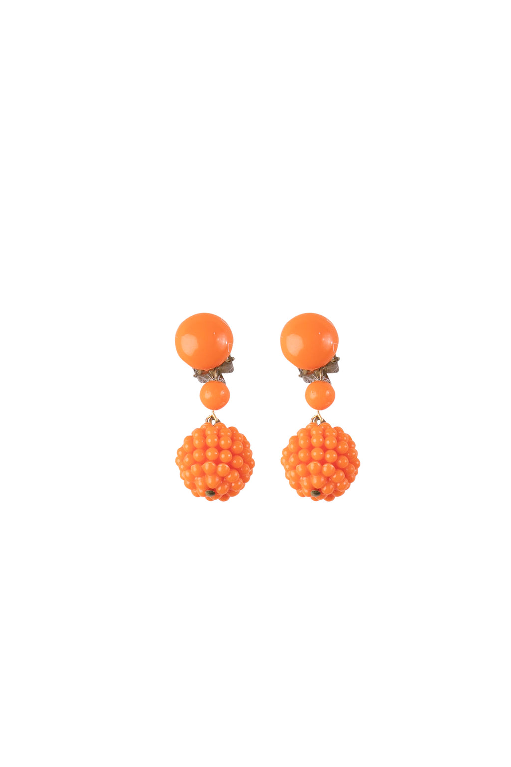 Orange Beaded Vintage Clip-on Earrings