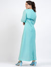 Blue Long Sleeve Vintage Maxi Dress with Sequin Detail