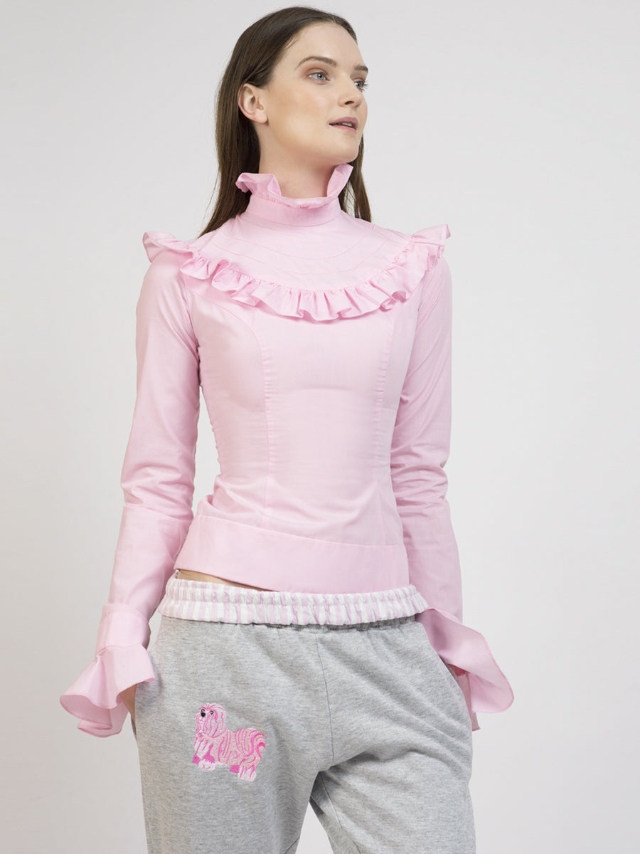 Ilona Rich Pink High Neck Victorian Blouse