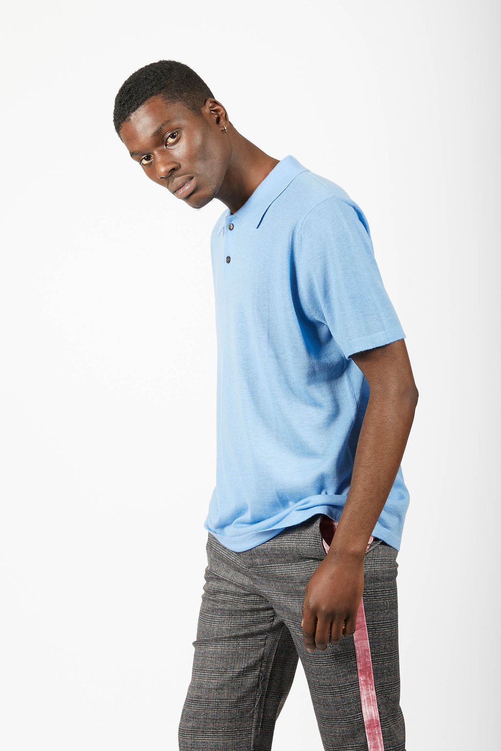 Blue Cashmere Polo Shirt