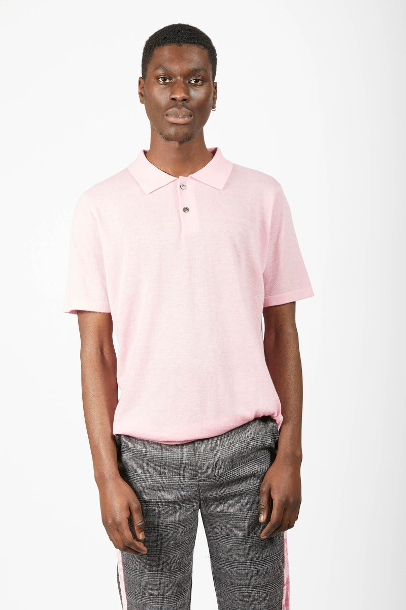 Unisex Pink Cashmere Polo Shirt-L-Pink