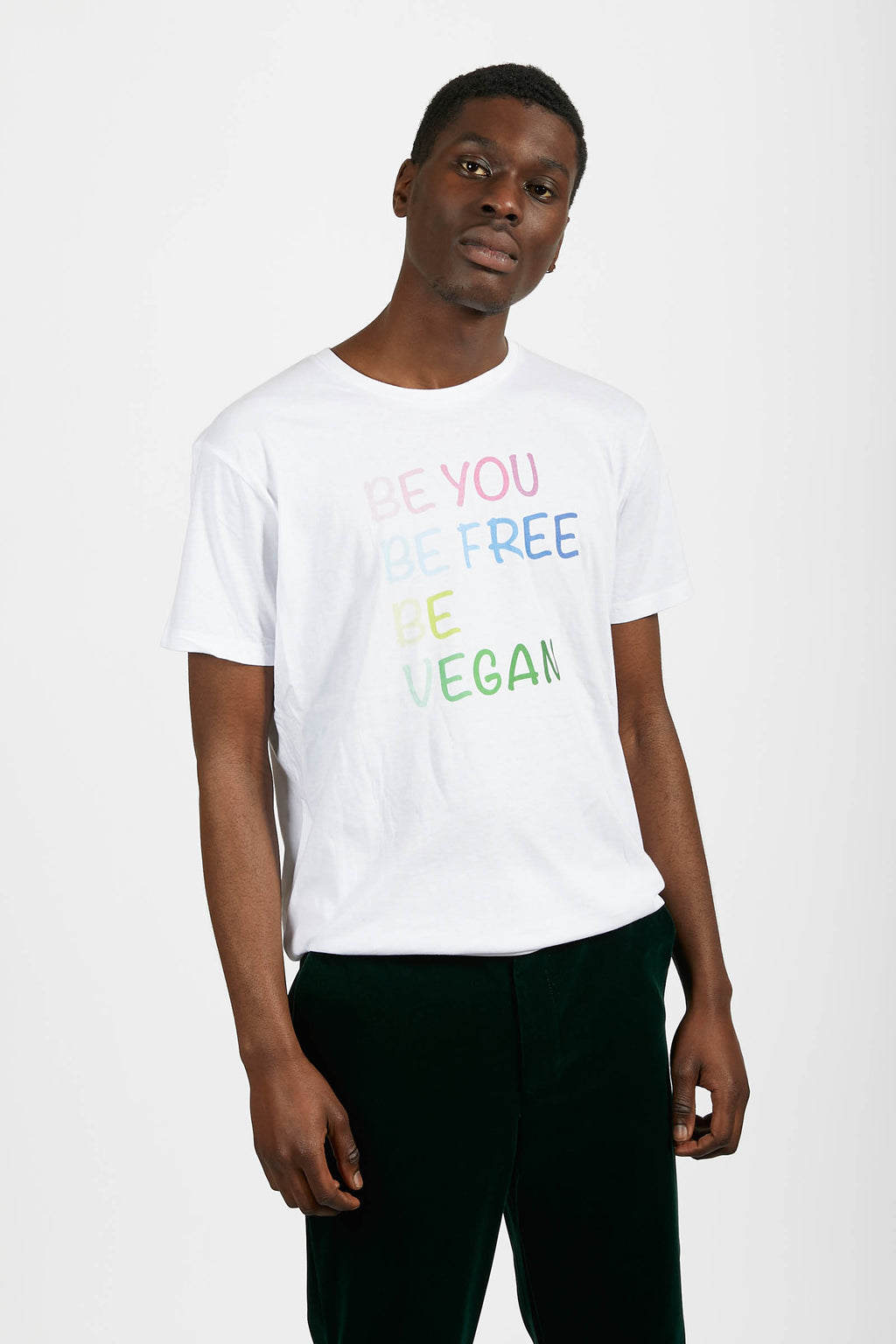 White 'Be Vegan' Slogan T-Shirt