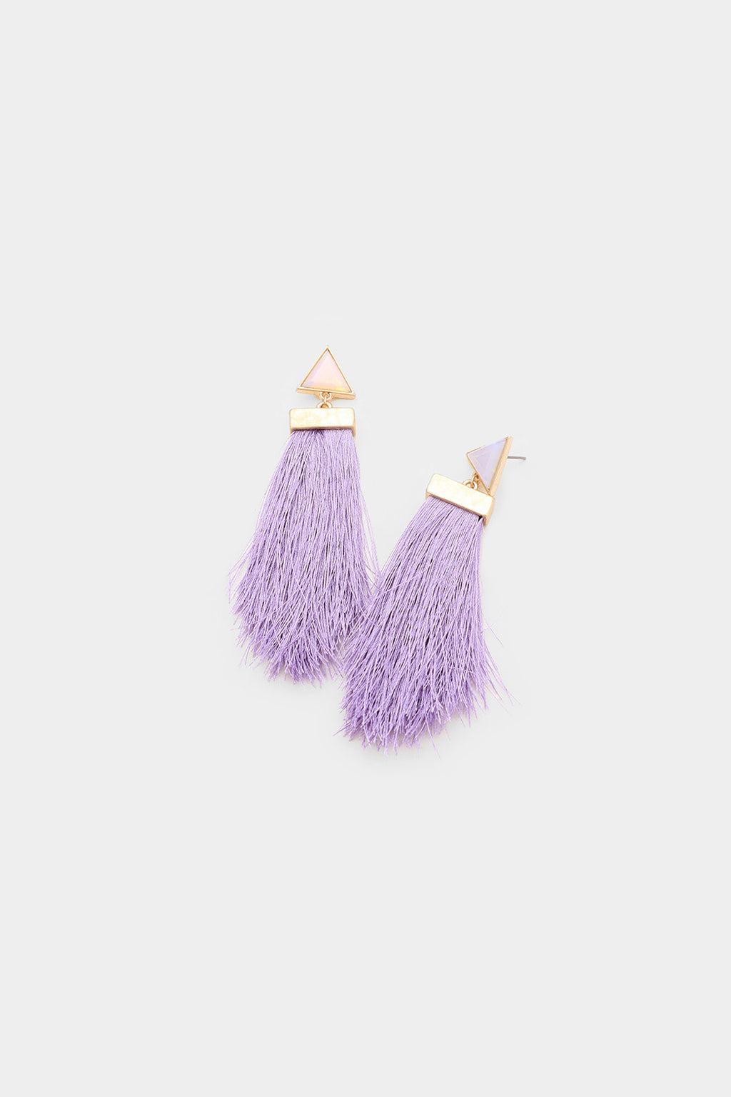 Semi Precious Triangle Stone Tassel Earrings