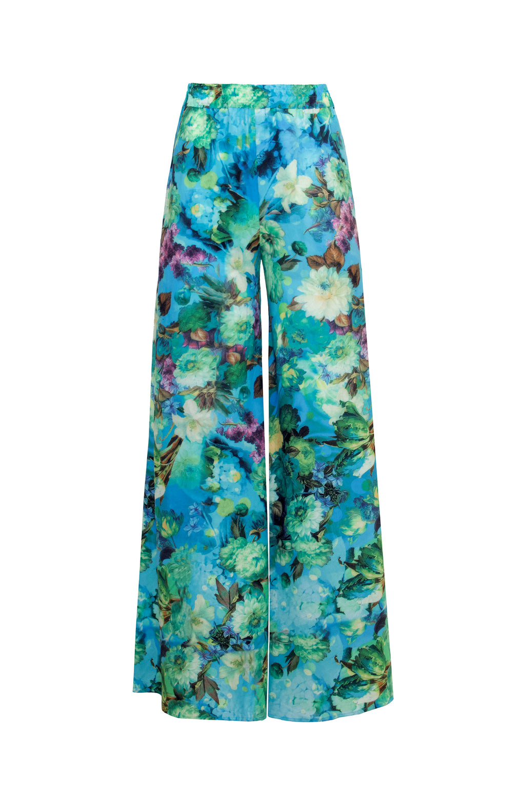 Tropical Print Wide Leg Trousers