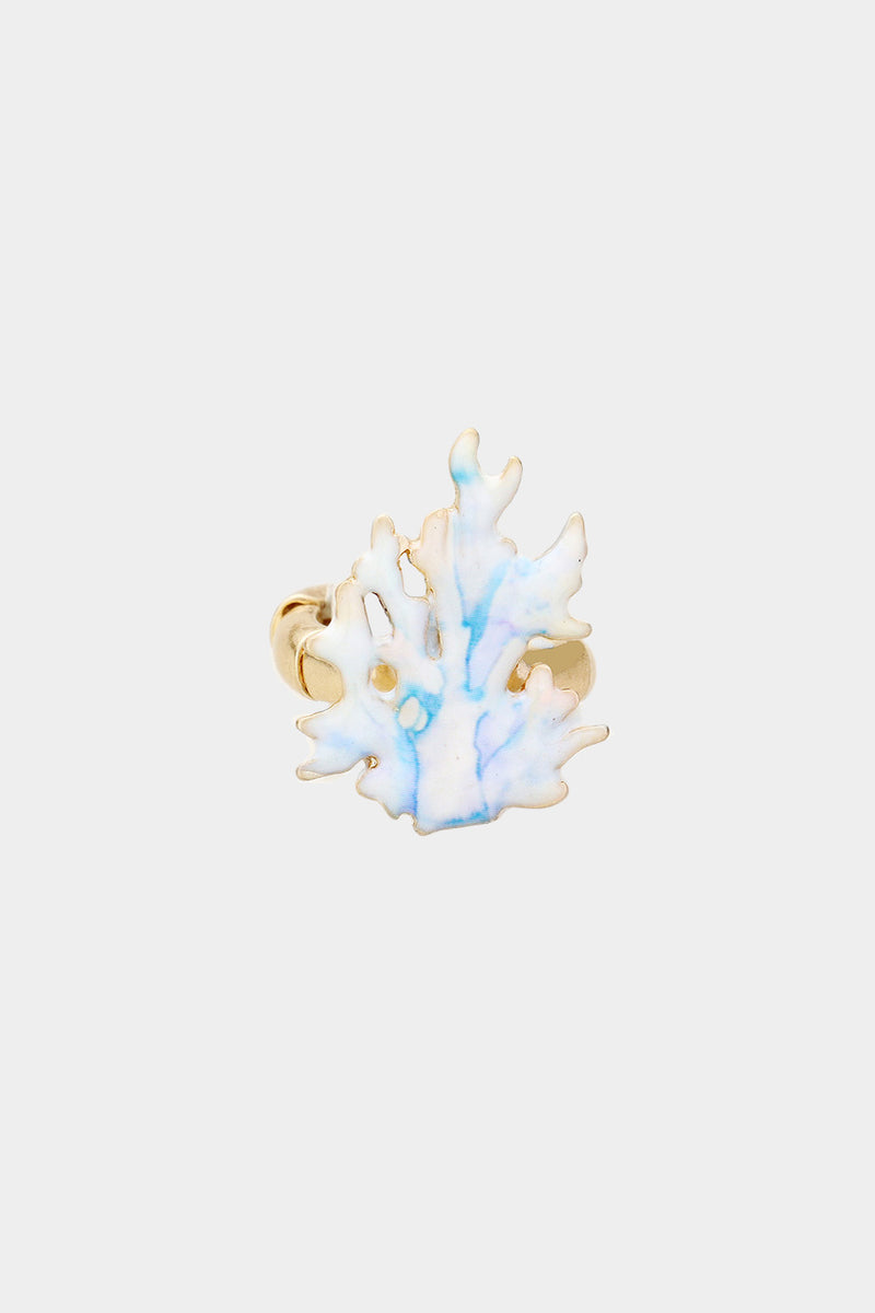 Watercolor Coral Metal Stretch Ring