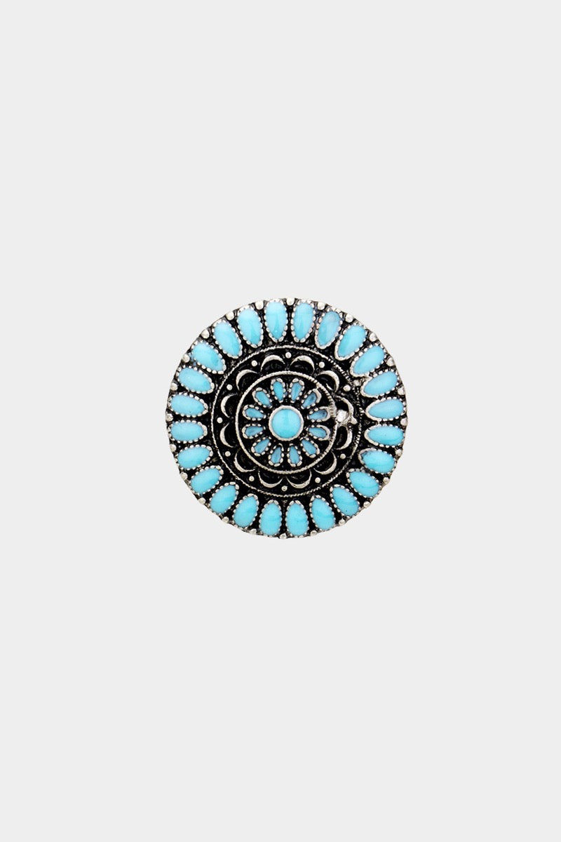 Round Enamel Tribal Stretch Ring